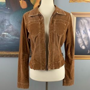 Guess Jeans Distressed Tan Camel Corduroy Jacket